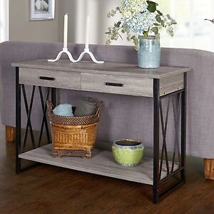 Rustic console table gray sofa storage tables hall entry way foyer furniture - Entrance table with storage ...
