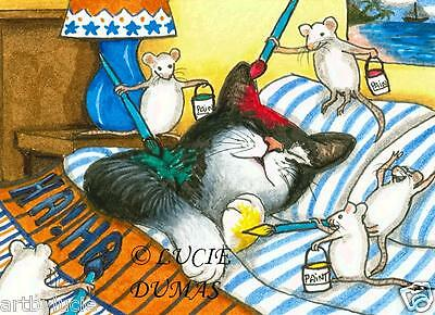 ACEO LE art print Cat 284 mouse from original painting by L.Dumas