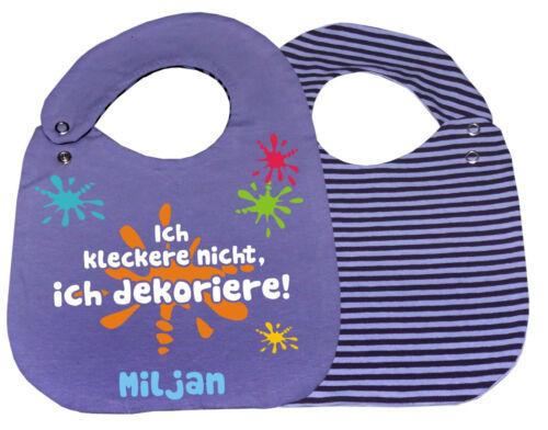 größenverstellbares Baby Wende Lätzchen Ich kleckere nicht und Namen des Kindes