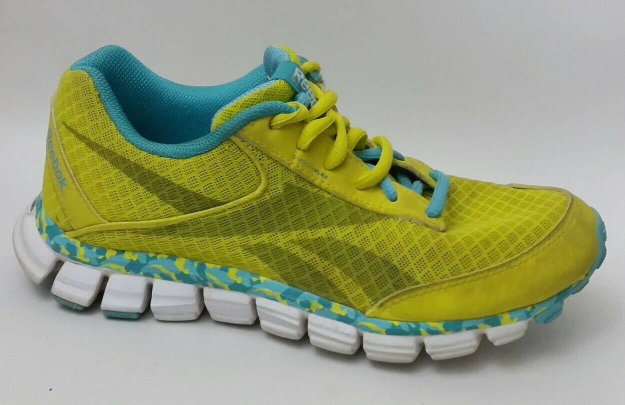 Reebok Smoothflex Running shoes Women 7 Medium Sneaker Neon Yellow bluee Athletic