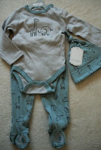 KYLIE /& DEENA NEW YORK 3 PIECE BABY BOY OUTFIT GIFT SET GREY//BLUE SAFARI ANIMAL