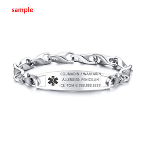 Custom-Engraving-Women-Men-Medical-Alert-ID-Bracelet-Stainless-Steel-Personalize