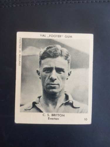 FOOTBALL RARE VAL GUM KLEENE 1936 trade card #10 EVERTON C S Britton