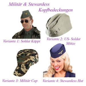 MILITÄR & STEWARDESS HUT Karneval Soldat Armee Kostüm Mütze Cap Schiffchen # F16