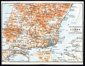 Antique Map Portugal Plan Of Lisbon Lisboa Karl Baedeker 1913 Ebay