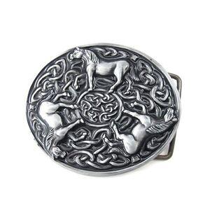 Vintage-Silver-Alloy-Irish-Celtic-Knot-Three-Horses-Animals-Tribal-Belt-Buckle