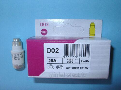 E18 Auswahl 10x NEOZED Schmelzeinsatz Sicherung 2 bis 63A gL//gG E14