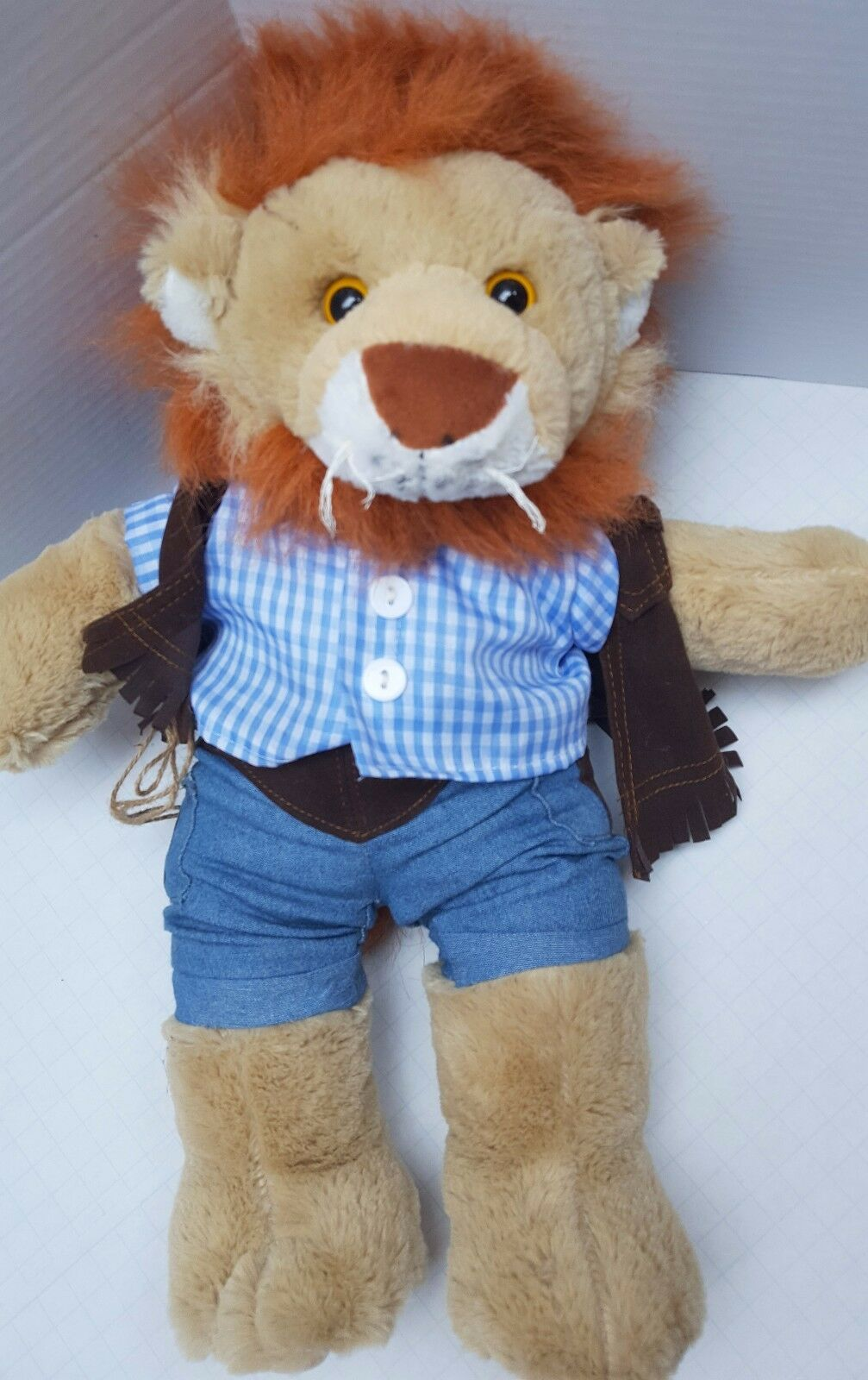 Teddy Mountain Lion Plush Doll Cowboy Western Orange Mame Rope Clothing UK 18
