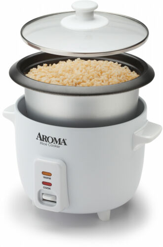 Aroma 6 Cup Non Stick Pot Style White Rice Cooker 3 Piece