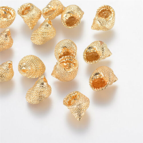 20x Real Gold Plated Brass Conch Shell Pendants Charms Crafts 14x10x8mm Hole 2mm