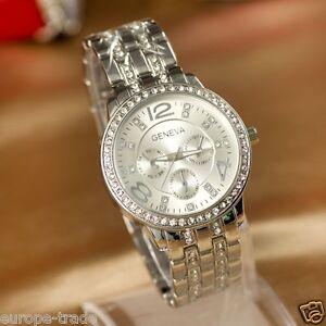 524b0e9e4112 Silver Hot Fashion Womens Crystal Luxury Steel Wrist Designer Watch ...
