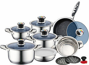 royalty line set  ROYALTY LINE QUALITY STAINLESS STEEL 16PC SAUSEPAN POT SET MARBLE ...