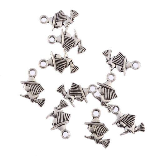 10pcs Flying on Broom Beads Tibetan Silver Charms Pendant DIY Bracelet 10*10mm