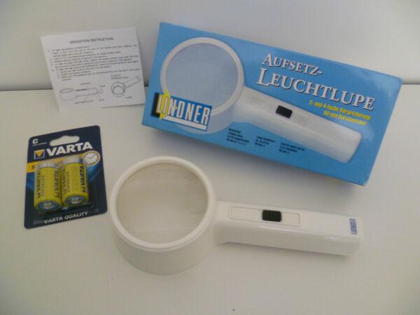 1 Original Lindner Aufsetz Leuchtlupe 90mm Ø Inkl. Batterien Neu&ovp 28 Gutes Renommee Auf Der Ganzen Welt