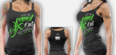 Monsta Clothing Co Womens Workout Wear Bodybuilding Gym Animal Out Tank Top NEW