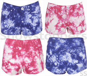 NEW-Womens-DISTRESS-SHORTS-TIE-DYE-DENIM-Ladies-HOT-PANTS-Size-8-10-12-14-16