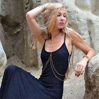 Simple Gold Bikini Beach Crossover Harness Necklace Waist Belt Belly Body Chain