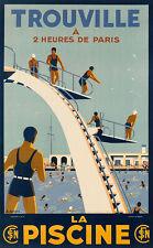 Art Ad TROUVILLE  LA PISCINE Swimming Bathes Diving Travel Poster Print