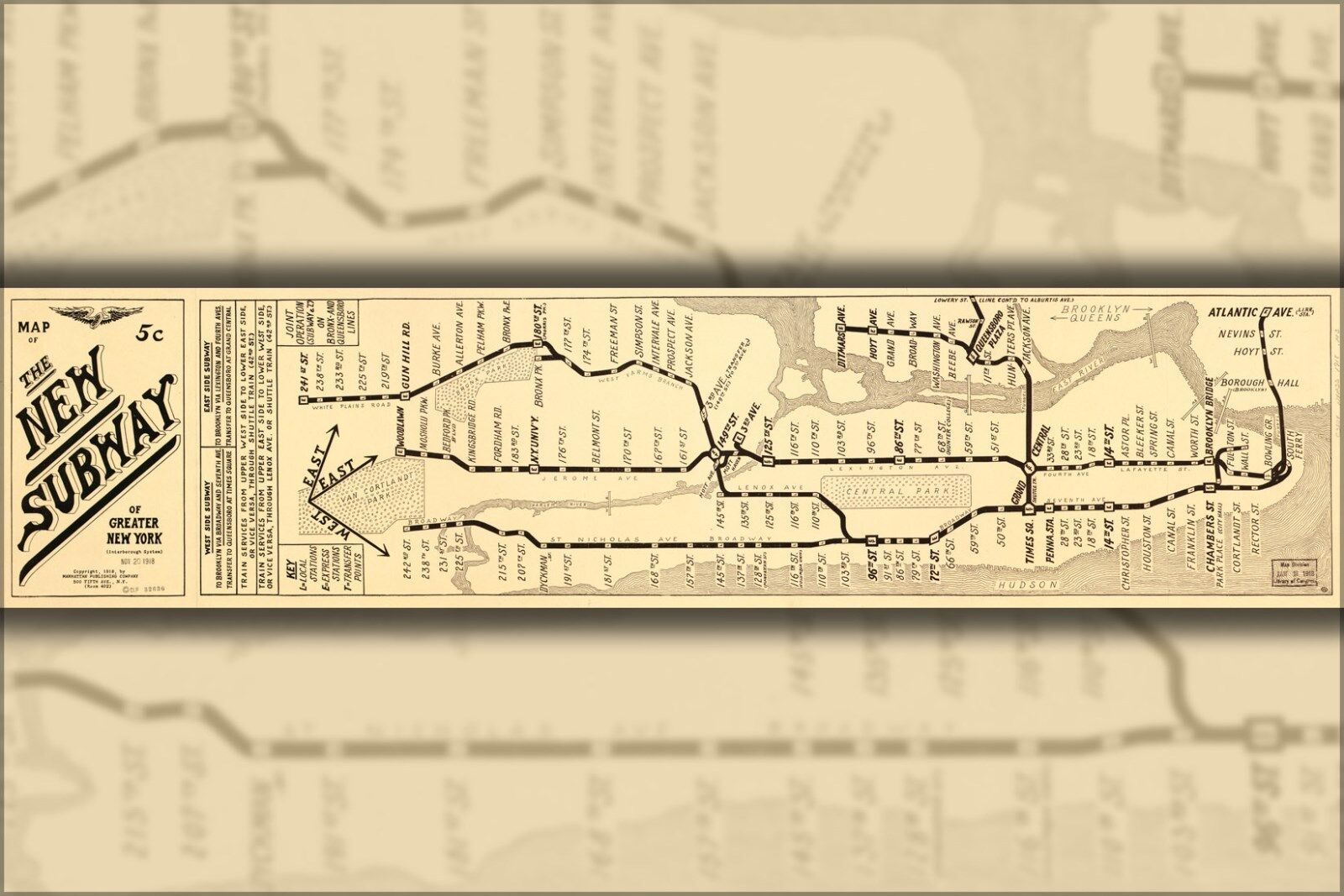 Poster, Molte Misure; Mappa Del The New Metropolitana di Nuovi York City 1918