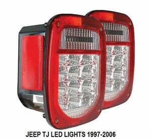 Jeep TJ CJ YJ WRANGLER LED Tail Light Clear Lens and RED Lights NEW ...