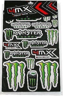 4MX Stickers Decal Sheet Green Black Energy Logo fits Quad Bike