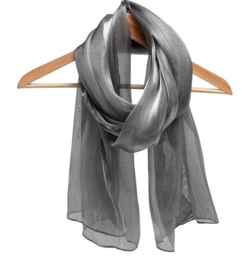 Sciarpa in Chiffon D/'ARGENTO-GRIGIO SCURO-Look Metallico Scialle-spalla-BRACCIO Wrap-Organza *
