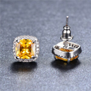 Image Is Loading White Gold Square Yellow Topaz Princess Round Cubic