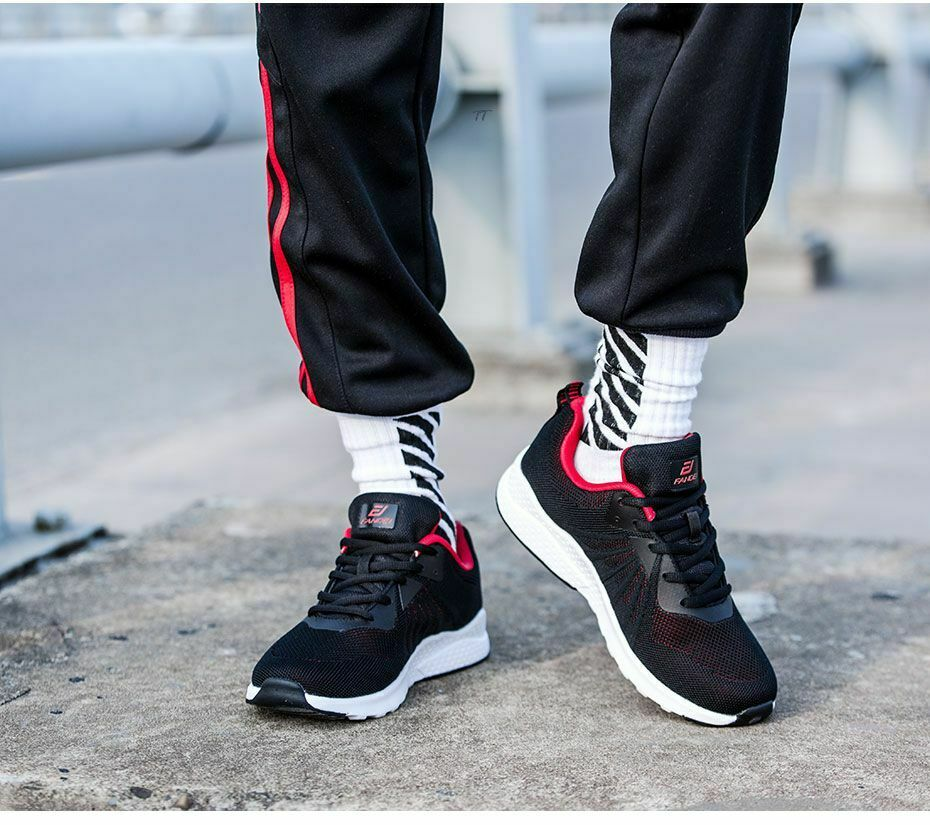 Men Sneakers Sport shoes Outdoor Walking Lace-up Breathable Mesh Trainers Latex