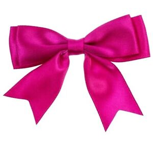 Pack-of-5-Hot-Pink-Cerise-Large-8-5cm-25mm-Satin-Ribbon-Ready-Made-Double-Bows