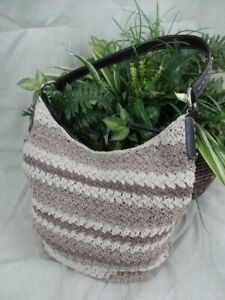 Beige-and-Tan-Crochet-Shoulder-Handbag-Purse-Bucket-Style-Medium-Size-P016