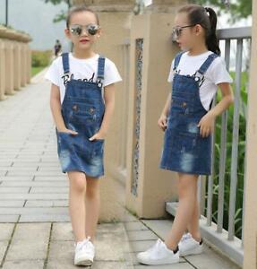 Girls Child Ripped Denim Dungarees Skirt Jeans Bib Overalls Pinafore Skirt Dress