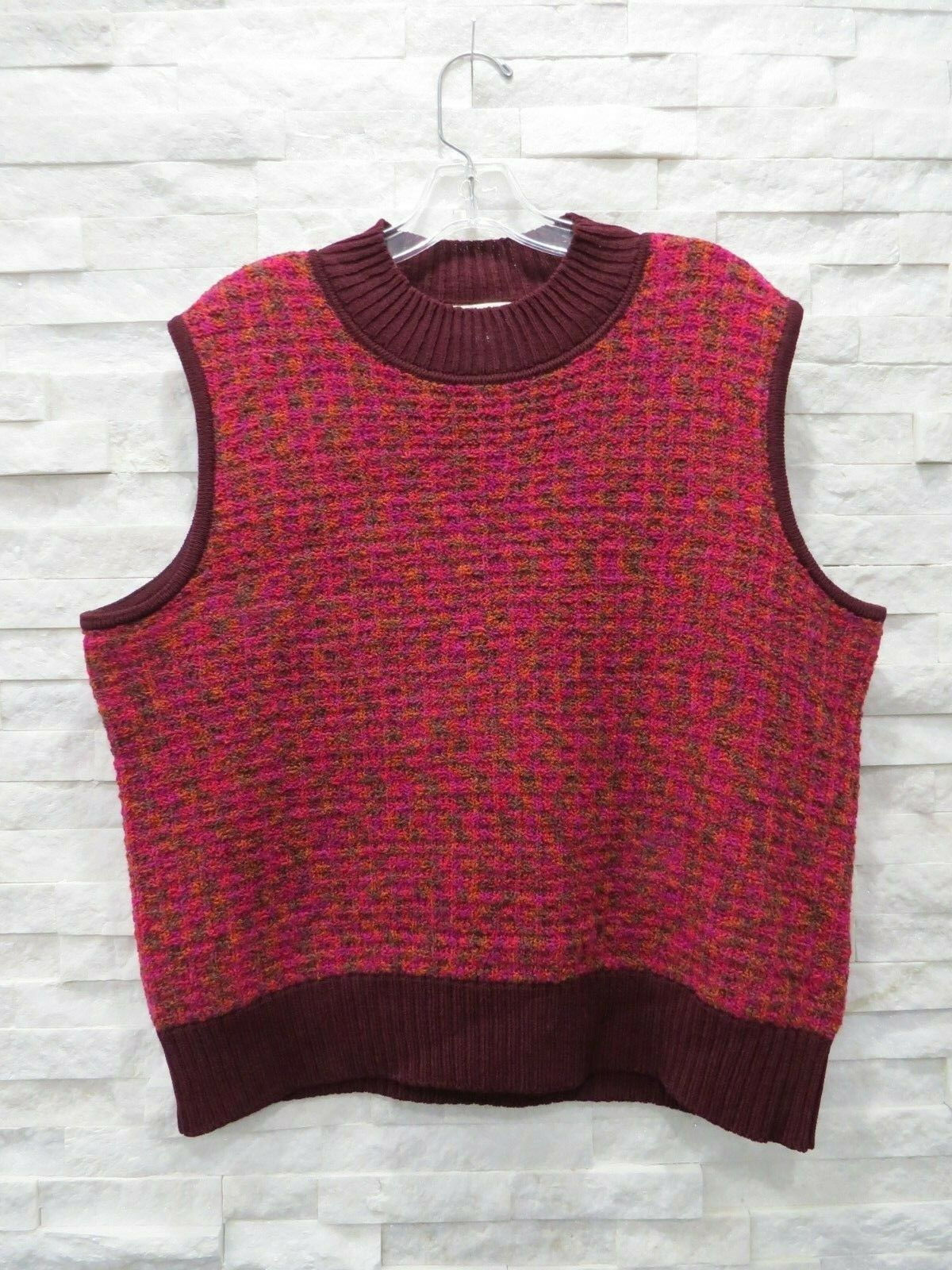 St. John Sport Maroon orange Brown Magenta Boucle Santana Knit Sweater XL 16 18