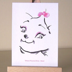 The-Aristocats-WDCC-Marie-tiny-ACEO-card-pretty-Art-Deco-style-kitten-drawing