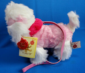 30cm-PINK-amp-WHITE-POODLE-PUPPY-DOG-on-lead-soft-plush-comforter-toy-KEEL-TOYS