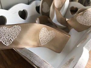 Taupe-Ribbon-with-White-Hearts-Craft-Wedding-Card-Making-Sewing-Trim-Bow-1Mtr