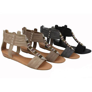 Womens Roman Gladiator Flats Sandals Fashion Beads Ankle