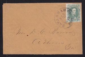 Confederate States Sc 1, 5c Jefferson Davison on 1862 cover Savannah to Athens,