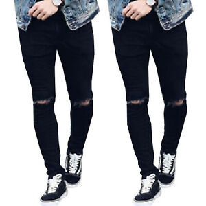 Men-039-s-Skinny-Denim-Pants-Ripped-Destroyed-Frayed-Jeans-Slim-Fit-Trousers-Black