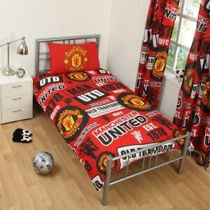 Manchester-United-FC-039-Empiecement-039-Set-Housse-de-Couette-Simple-Neuf-Man-Utd-Lit