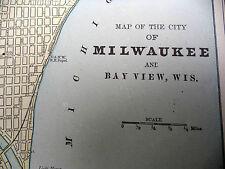 Antique 1891 Geo Cram City Map With Street Names Milwaukee Bay View or Atlanta