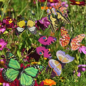 Ginsco 25pcs Butterfly Stakes Outdoor Yard Planter Flower Pot Bed Garden Decor