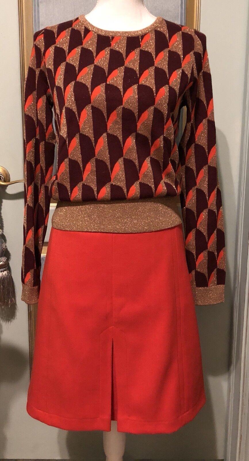 NWT Ann Taylor orange Burgundy guld tröja Storlek M  140