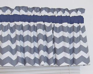 Details about Dark Navy Blue and Gray Chevron Window Curtain Valance  Bedroom Nursery FREE SHIP