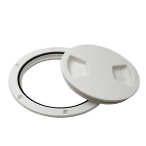 Boat RV WHITE 5 inch Round Access Hatch Cover Sealing Deck Plate Screw