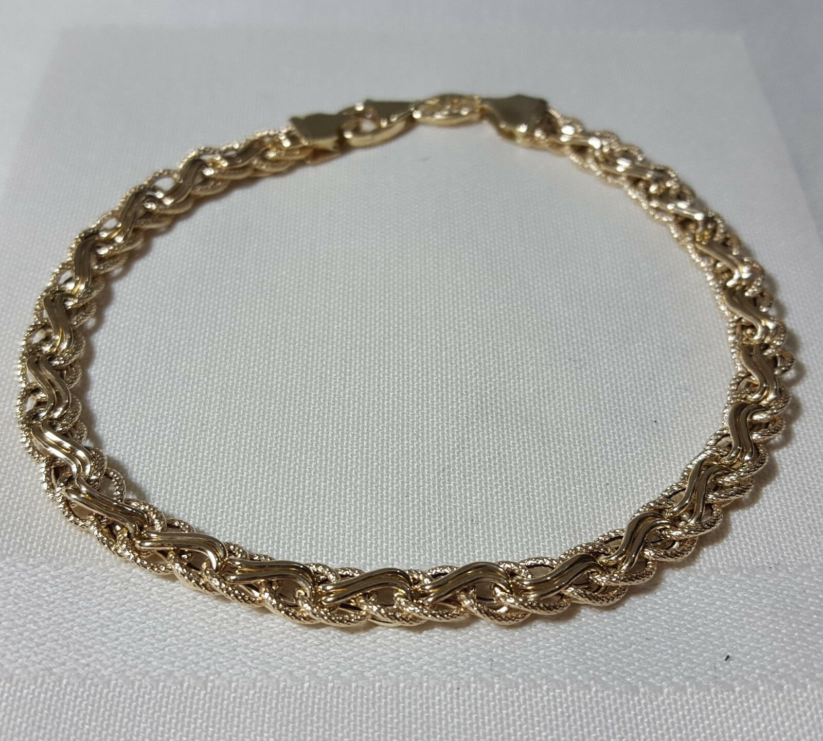 19ed4b4431d18 Bracelet Braided Rope Inch 18 gold 14K 4.5 Yellow Wide 5.5mm Grams ...