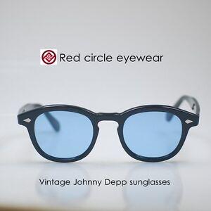 Retro Vintage Johnny Depp sunglasses womens mens yellow glasses purple lens 46mm