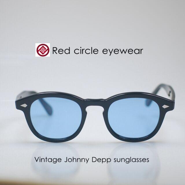 Small retro Johnny Depp sunglasses mens acetate flesh glasses blue lens unisex