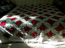 # 450 Vintage Heavy Super Plus Bold Colors White & Red Floral Chenille Bedspread