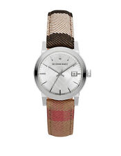Burberry Women's Swiss Silver Tone The City Housecheck Fabric Strap Watch BU9151