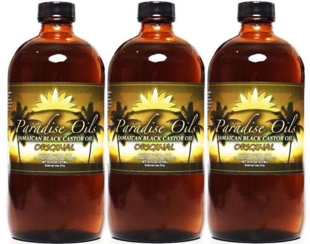 (3) Paradise Oils Jamaican Black Castor Oil 16oz Original 100% Natural